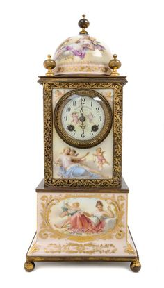 A Vienna Porcelain Mantel Clock Height 17 inches.