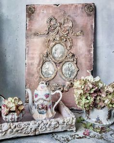 Decoupage Vintage, Vintage Crafts, French Decor, French Country Decorating, Mixed Media Canvas, Mixed Media Art, Chabby Chic, Mixed Media Scrapbooking, Fairy Gifts
