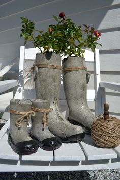concrete boot planters