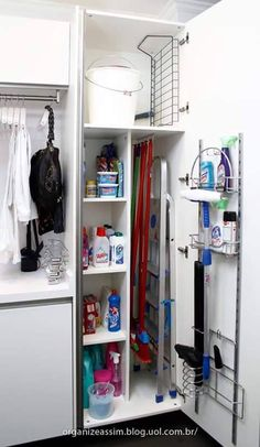 Utility room or small laundry room closet with space for storing laundry soap, broom etc Small Laundry Rooms, Laundry Room Organization, Laundry Storage, Laundry In Bathroom, Kitchen Storage, Broom Storage, Storage Room, Closet Storage, Vacuum Cleaner Storage