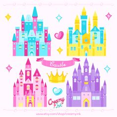 The castle digital clip art are perfect for girls birthday part, party invitations, scrapbooking and many more. #clipart #vector #design See more at CreamyInk.etsy.com