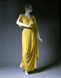 Yellow rayon evening dress by Gilbert Adrian, American, 1944.