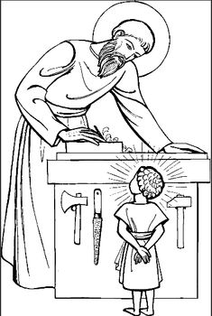 coloring page St. Joseph & child Jesus carpenter shop