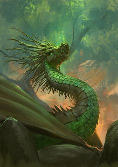 Forest Dragon by Even Admundsen Mythical Creatures Art, Mythological Creatures, Magical Creatures, Sea Dragon, Green Dragon, Fantasy Dragon, Fantasy Art, Legendary Dragons, Beautiful Dragon