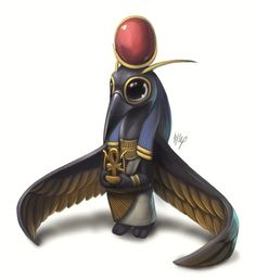 A cute depiction of the Egyptian god Thoth.