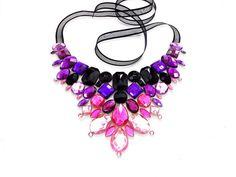 Pink and Purple Jeweled Rhinestone Statement por SparkleBeastDesign