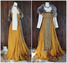 Linen Apron Dress, Linen Tunic, Medieval Costume, Medieval Dress, Larp Costumes, Vikings, Viking Clothing, Historical Clothing, Viking Dress