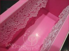 add a lace pattern to your soaps by affixing lace to the edge of your mold