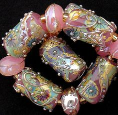DSG Beads Handmade Organic Lampwork GlassMade To by debbiesanders, $99.00  <3<3<3SWOON<3<3<3PRETTY IN PINK & GOLD!