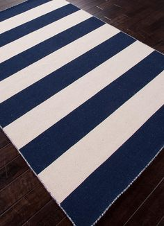 Jaipur Pura Vida Tierra Flat Weave Stripe Pattern Wool Handmade Rug Medieval Blue, Size: 9 x 12 ft. Wool Area Rugs, Blue Area Rugs, Blue Rugs, Blue Ivory, Blue And White, White Beige, Dark Blue, Nautical Rugs, Jaipur Rugs