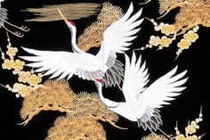 The symbolism of the Crane in Japan Japanese Textiles, Japanese Patterns, Japanese Prints, Japanese Bird, Japanese Crane, Crane Drawing, Crane Tattoo, Japanese Drawings, Japanese Painting
