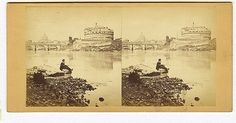 General view of the Bridge and the Castle St Angelo, with the Tiber and the Dome of St Peter's Saint Angelo, Vintage World Maps, Bridge, Castle, Rome, Bridges, Castles, Attic, Bro