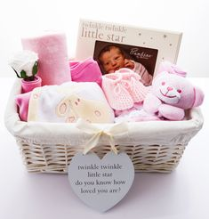 Twinkle Twinkle 'It's A Girl' Baby Hamper.  Our pretty in pink hamper is a very thoughtful gift to welcome a new baby girl.  https://www.belovedcreations.co.uk/collections/mother-and-baby-hampers/products/twinkle-twinkle-it-s-a-girl-baby-basket