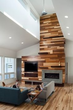 Looking to add a wood accent wall to your home? DIY Networks shares two simple methods that make shiplap a snap. Family Room Walls, Accent Walls In Living Room, Accent Wall Bedroom, Fireplace Wall, Fireplace Design, Modern Fireplace, Wall Color Combination, Accent Wall Designs, Modern Tv Units