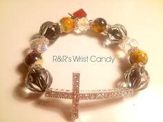 Crystal Clear Cross Beaded Bracelet by RandRsWristCandy on Etsy, $8.00