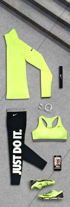 A gym outfit to match your high intensity playlist — loud. Get the workout gear in the Nike Burn-Baby-Burn Fit Kit.