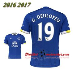 Les Nouveaux Maillot Everton FC G.DEULOFEU 19 Domicile Bleu 2016 2017: fr-moinscher