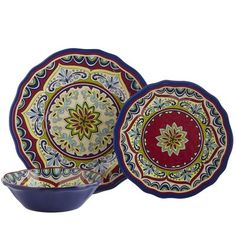 Our Sevilla dinnerware is so pretty, your table looks polished without additional embellishments. The striking printed pattern is reminiscent of traditional Spanish pottery. But here's the surprise: These dishes are made of lightweight melamine, so they won't break, chip or fade. Now you've got to whip up a worthy meal.