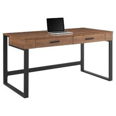 Home Office Furniture : Target Desk Hutch, Drawer Hardware, Home Office Furniture, Brown Furniture, Desk Light, Work Surface, Geometric Designs, Office Desk, Office Spaces