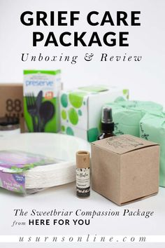 The Compassion Packages from Here for You are practical grief care packages that you can send to a grieving friend or family member who is far away. The unique angle shows that you care for their needs even when you can't be nearby. Here's our unboxing and review, including a detailed look at each item. #carepackages #caregifts #thinkingofyou #carebasket #griefgifts Memorial Urns, Funeral Memorial, Memorial Gifts, Funeral Etiquette, Grieving Friend, Funeral Urns, Plastic Forks, Funeral Arrangements, Sympathy Gifts