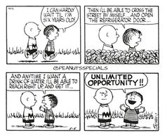 First Appearance: May 5th, 1956 #peanutsspecials #ps #pnts #schulz #charliebrown #linusvanpelt #six #years #old #cross #street #myself #refrigerator #door #anytime #drink #water #unlimited #opportunity www.peanutsspecials.com