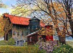Pin Head Silos Vermont by Thelma Winter ~ farm