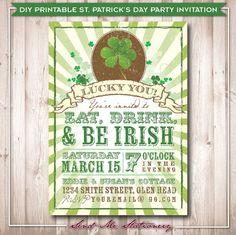 Printable Vintage St. Patrick's Day Invitation by SendMeStationery, $20.00