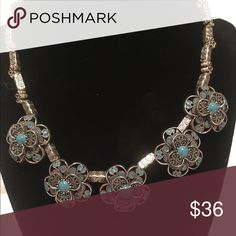 """Silver plate flower necklace 16"""" silver plate flower necklace with blue stones.2"""" adjustable closing Jewelry Necklaces"""