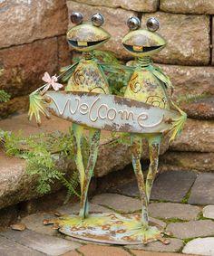 'Welcome' Solar Frog Figurine #zulily #zulilyfinds