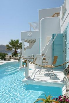 Kivotos Hotel, Mykonos, Greece. Wow. Individual decks poolside.Compare #hotels #rates direct #booking