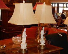 Pair of White Ceramic Quan Yin Lamps
