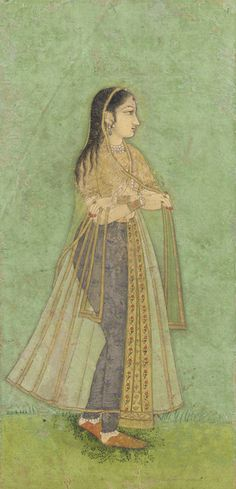 South Asian and Himalayan Art | Woman standing | 17th century | Mughal dynasty | Color and gold on paper | India