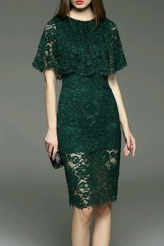 cc blackish green cut out lace capelet dress here, find your knee length dresses at dezzal, huge selection and best quality. Trendy Dresses, Simple Dresses, Beautiful Dresses, Short Dresses, Fashion Dresses, Dresses Dresses, Pencil Dresses, Dress Long, Fashion Clothes