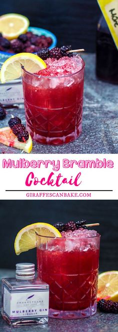 Mulberry Bramble Cocktail is full of amazing flavours and stunning colours. Made with mulberry gin, lemon juice, and blackberry liqueur, it's really easy to mix, making it the perfect cocktail to serve at any occasion. #drinks #cocktails