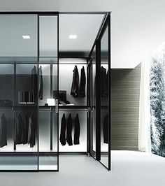Organized Walk-In Closet In White By Rimadesio - Garderobe Walk In Closet Design, Wardrobe Design, Closet Designs, Walking Closet, Dressing Room Closet, Closet Bedroom, Dressing Rooms, Master Bedroom, Organizing Walk In Closet