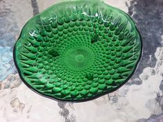 Green Glass Footed Dish Bowl Teardrop Embossed Scalloped Edge Vtg Mid Century