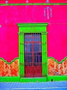 As you know I love neon colours. So I thought I would share some beautiful neon painted walls and homes. Cool Doors, Unique Doors, Doorway, Windows And Doors, Monuments, Porches, Color Inspiration, Gates, Around The Worlds