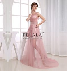 Spring/Summer/Fall Ladies UnusualSexy/Beautiful/Puffy/Sparkly A Line/Princess Sweep Train Long Strap Prom Dresses/Evening Dresses With Beaded Ruche Net