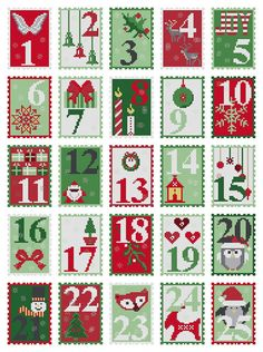 Cross stitch pattern ADVENT CALENDAR  embroidery pattern,needlepoint,cross stitch,modern christmas,xmas,christmas advent,anette eriksson,diy