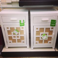 Two Calypso Home End Tables In Bright White With A Sea Grass Background  $149.99 Each.