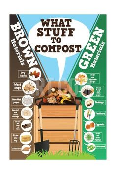 Hydroponics Gardening Art Print: A Vector Illustration of What Stuff to Compost Infographic by Artisticco LLC : - Hydroponic Farming, Aquaponics Diy, Aquaponics System, Hydroponics, Composting 101, Organic Gardening, Gardening Tips, Gardening Websites, Gardens