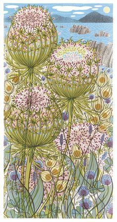 Angie Lewin Wild Shore, 2018 Screen print H 57 x 29 cm image size Yellena James, Angie Lewin, Mc Escher, Silk Screen Printing, Wood Engraving, Textiles, Linocut Prints, Fabric Painting, Fabric Art