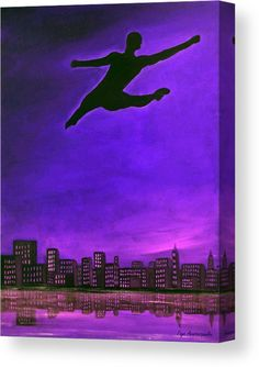 Canvas Print, silhouette,figure,dancer,ballet,form,shape,leaping,jumping,flying,dreamscapes,man,male,masculine,guy,solo,lone,single,unbounded,unfettered,dynamic,powerful,skyscapes,freedom,figurative,motion,movement,celestial,sky,clouds,city,contemporary,modern,surreal,fantasy,light,blue,black,lavender,high,artistic,unique,imagination,decor,in,at,up,and,above,over,of,for,the,fine,art,oil,painting,artworks,products,items,for sale,online,fine art america