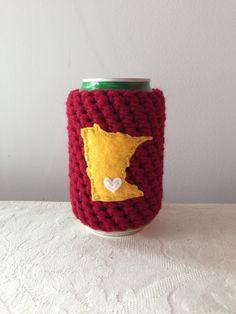 University of Minnesota, Minnesota Golden Gophers | Minneapolis, Minnesota Crochet Beer Coozie, Coffee Cup Cozy, Coffee Sleeve by Maroozi by Maroozi on Etsy