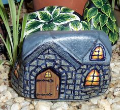 Stone Cottage Painted Rock