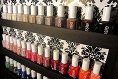 Organize Nail Polish on the inside of a closet door