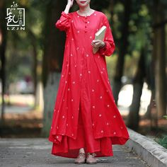 Find More Dresses Information about LZJN A Line Embroidery Maxi Dress 2017 Autumn Winter Women Gown Long Dresses Mori Two Pieces Red Floral Robe Femme Elbise 32253,High Quality maxi dress,China long dress Suppliers, Cheap women gowns from LZJN - Store on Aliexpress.com