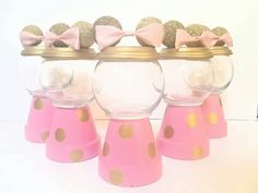 Minnie Mouse pink & gold Gumball by DiamondsCraftsnmore on Etsy