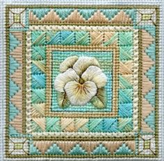 Trish Burr's Blog, needlepoint with thread-painted pansy