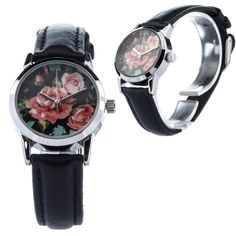 Petite ZIZ Watch Aster Flower, Small Faces, Beautiful Gift Boxes, Watch Bands, Gifts For Women, Monochrome, Quartz, Black And White, Leather